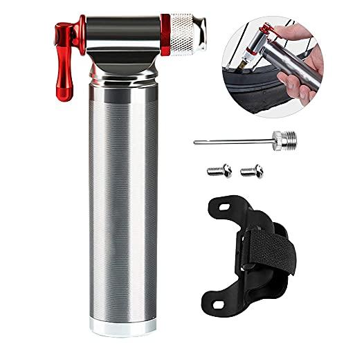 Mini bombas de bicicleta de CO2, bomba de neumático de bicicleta de CO2 portátil 100% de metal con correas, traje aguja bola para neumáticos bicicleta y baloncesto, cilindro gas CO2 16 g no incluido