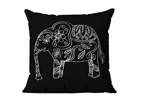 BAS Decorative, Fashion, Colorful 3D digital Printing Square Cushion Covers for Sofa, Chair, Couch, Kitchen, Home Decor 43x43 cm (Elephant on The Black)