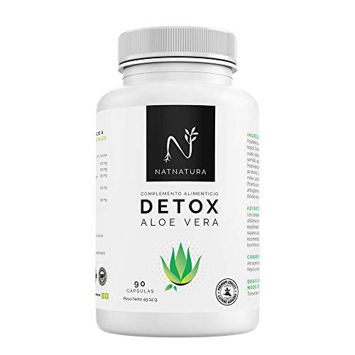 Detox Aloe Vera+Hinojo. Plan detox adelgazante natural para eliminar toxinas y limpieza de colon.Suplemento alimenticio vegetal a base de aloe vera puro. Vegano y sin gluten. 90 capsulas vegetales.