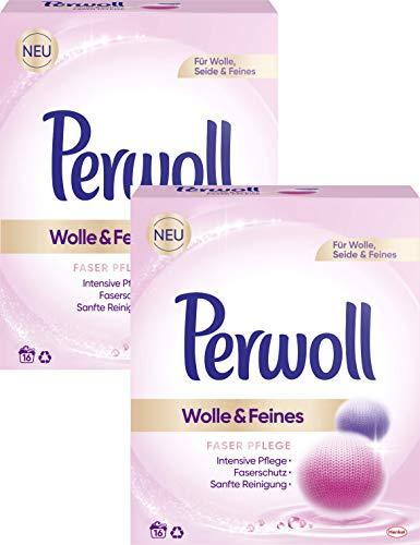 Perwoll 2er Pack Wolle & Feines, Faser Pflege Pulver für Wolle, Seide und Feines 32 (2x16) Waschladungen