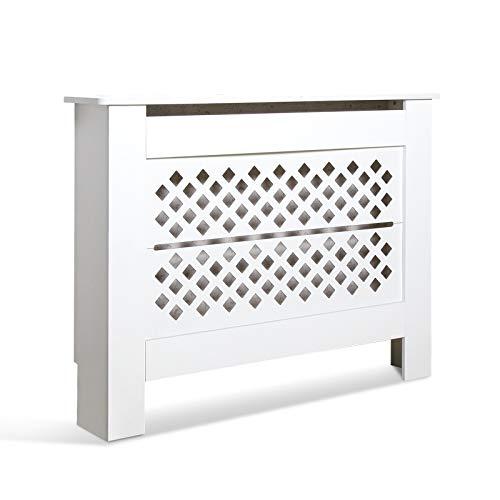 Mondeer Radiator Cover, Cabinet MDF Diamond Shape Modern White Decorative for Living Room Bedroom M(109cm)