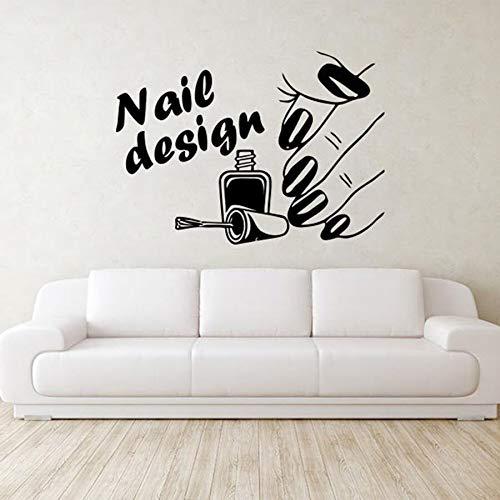 Diseño de uñas, calcomanía de pared, salón de belleza, manicura, moda, chica, arte, Mural, vinilo, adhesivo para pared, decoración de vidrio para ventana