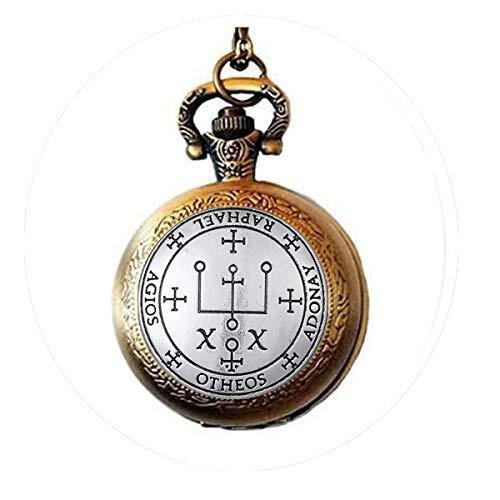 Dawapara Archangel Michael Raphael Uriel Gabrie Talisman Angel - Collar con Reloj de Bolsillo para Hombre