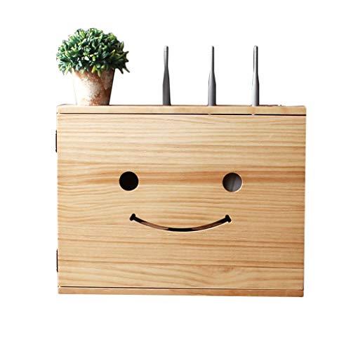 Solid Wood Draadloze Router Opslag Box-wandmontage Gratis Punch Multimedia Set-top Box Plank Zwakke Huidige Doos Wifi Blokkeren Decoratieve Doos Leuke Smiley