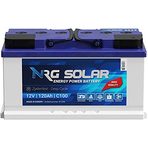 NRG SOLAR 120Ah 12V Wohnmobil Antrieb Versorgung Boot Schiff Solar Batterie (120AH 12V)