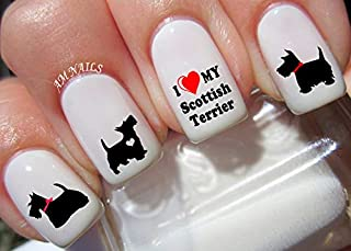 Scottish Terrier Water Nail Art Transfers Stickers Decals - Set of 50