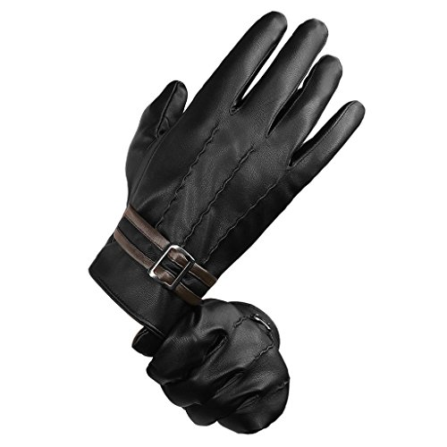 LETHMIK Mens Winter PU Faux Leather Gloves Touchscreen Texting Driving Long Fleece Lined Black-XL