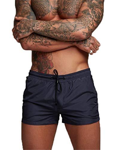 Kfnire Bañadores de natación, Pantalones Cortos de los Hombres de Secado rápido Playa Surf Corriendo Pantalones Cortos de natación Boxeadores Ligero Shorts (EU L=Tag XL, Navy)