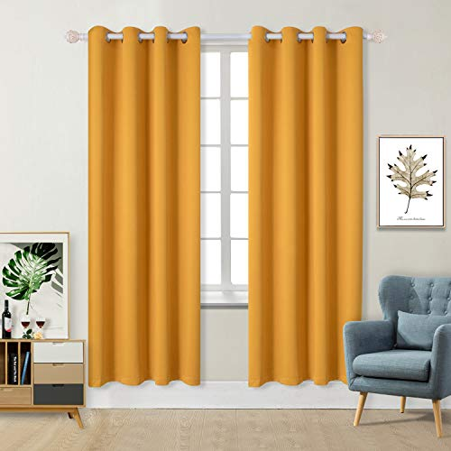 BGment Blackout Curtains for Living Room - Grommet Thermal Insulated Room Darkening Curtains for Bedroom, Set of 2 Panels (52 x 84 Inch, Mustard Yellow)