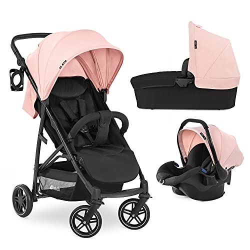 Hauck Rapid 4R Plus Trio Set 3-in-1 Pushchair Set up to 4 Years, with Infant Car Seat and Pram from Birth, Height-Adjustable Push Handle Rubber Wheels XL Canopy UPF 50+, Compact, Rose Pink Black