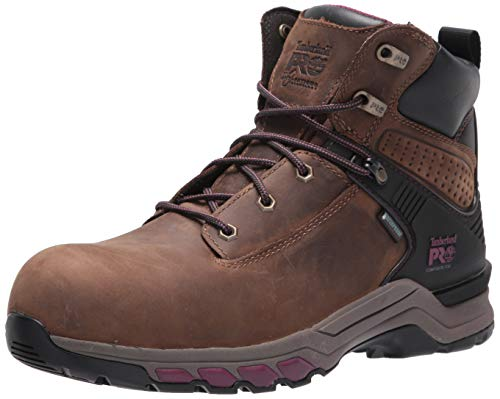 """Timberland PRO Women's Hypercharge 6"""" Composite Safety Toe Waterproof Industrial Work Boot, Brown Maroon, 9"""