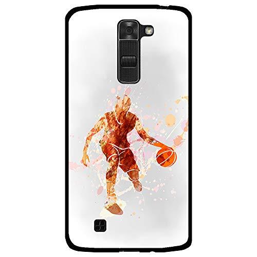 BJJ SHOP Funda Negra para [ LG K7 ], Carcasa de Silicona Flexible TPU, diseño : Jugador de Baloncesto Watercolor Naranja