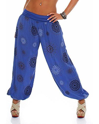 ZARMEXX Pantalones de mujer, bombachos, estilo oriental, de verano, con estampado, para el tiempo libre, talla única azul Einheitsgröße