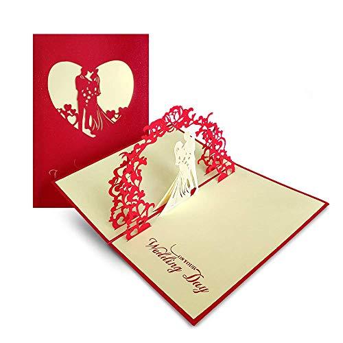 3D Grußkarte, Hochzeitskarten Romantik Faltkarte Geschenkkarte, 3D Pop-Up Karte Glückwunschkarte, Hochzeitseinladung (Hochzeit)