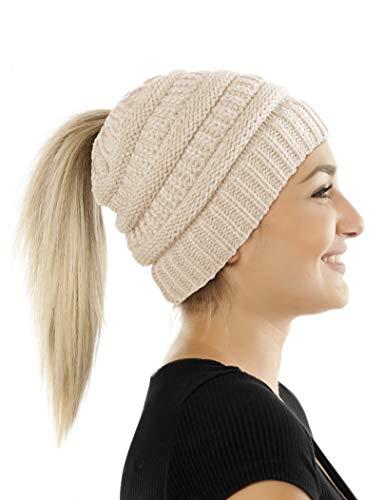 Balinco Damen & Mädchen Strickmütze mit Zopfloch - gestrickte Wintermütze (5a) (Beige)