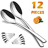 Elegant Life Dinner Spoons Set of 12, Stainless Steel Tablespoons Larger Size of Dessert Spoons, 8 inch, (12 Pcs)