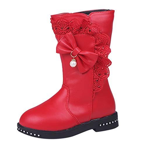 WEXCV Baby Mädchen Kinder Schönen Herbst Winter Warme Einfarbig Verdicken Bow Hohe Stiefel Weiche Sohle Schneeschuhe Kleinkind Stiefel