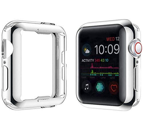 YoLin [2-Pack] Apple Watch Series 5 / Series 4 Schutzhülle, iwatch case Weiche Superdünne TPU iwatch Bildschirmschutz All-Aro& Hülle für Apple Watch Series 5 / Series 4 44mm (1 Silber + 1 Transparent)