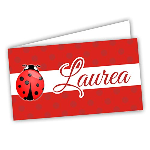 Bigliettini Bomboniera Laurea coccinella, Biglietti Sacchetti Confetti - Laurea 60 pezzi pretagliati - stampa l'interno con il file da scaricare dal link e il foglio di prova per non sbagliare