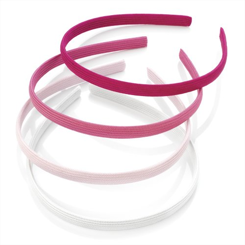Set of 4 Pink Tone Plain Fabric Covered Alice Hair Bands Headbands by Pritties Accessories