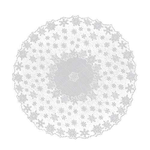 Hniunew WeißEs Weihnachten Spitze Weihnachtstischdecke Tischdecke Runde Quadratische Wohnzimmertisch Tafeldecke TischläUfer Tischdeko Esstisch SchutzhüLle Stofftischdecken Tischpapier Tischdecke
