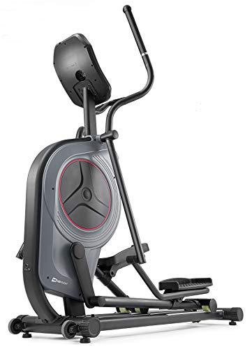 Hop-Sport HS-100C Elliptical Crosstrainer mit Unterlegmatte - Ellipsentrainer mit App-Steuerung, 12 Programmen und HRC-Modus, Profi-Qualität Ergometer max. Benutzergewicht 150kg grau