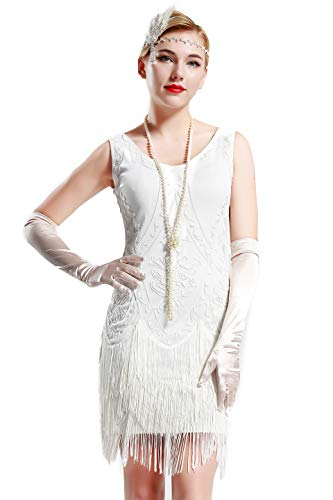BABEYOND 1920s Flapper Dress Roaring 20s Great Gatsby Costume Dress Fringed Embellished Dress (White, S)