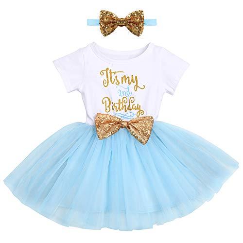 FYMNSI Baby Säugling Mädchen Es ist Mein 2. Geburtstag Party Kleid Outfit Kurzarm Tütü Tüll Prinzessin Geburtstagskleid mit Pailletten Schleife Stirnband Fotoshooting Babykleidung Set Blau