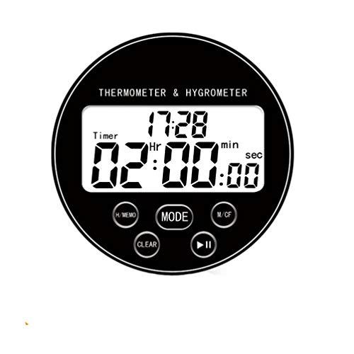 Hemoton 1 Pieza Medidor de Temperatura y Humedad con Grande Pantalla Digital Termómetro Redonda Higrómetro para Hotel Oficina Laboratorio Hospitalario Sin Batería