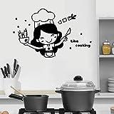 WERWN Etiqueta de la Pared de la Cocina Tenedor Vinilo Calcomanía para Olla Bebé Mamá Cocina Arte de la Pared Estrella Zanahoria Calcomanía Cita