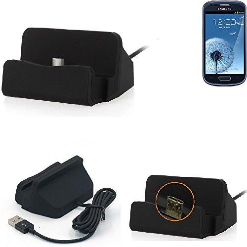 K-S-Trade Dockingstation Kompatibel Mit Samsung Galaxy S3 Mini Docking Station Micro USB Tisch Lade Dock Ladegerät Charger Inkl. Kabel Zum Laden Und Synchronisieren, Schwarz