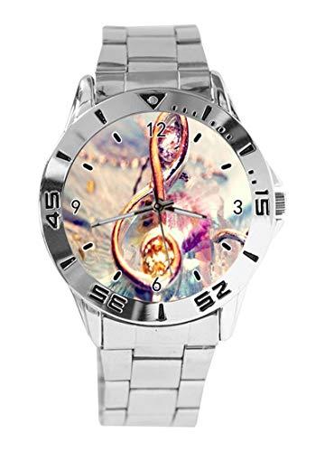 Orologio da polso analogico al quarzo con note musicali colorate, quadrante argento, classico cinturino in acciaio inox, da donna