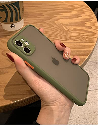 Fundas de teléfono de protección para Lentes de cámara de Lujo para iPhone 11 Pro XS MAX 12 Mini XR X 8 7 6 6S Plus Funda translúcida Mate a Prueba de Golpes para iPhone 12Pro MAX Army Green