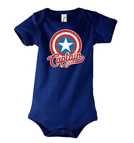 TRVPPY Baby Kurzarm Body Strampler Modell Captain America, Gr. 3-6 Monate, Navyblau
