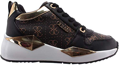Guess Scarpe Donna Sneaker Running Tallyn in Ecopelle Colore Brown/Black DS20GU21