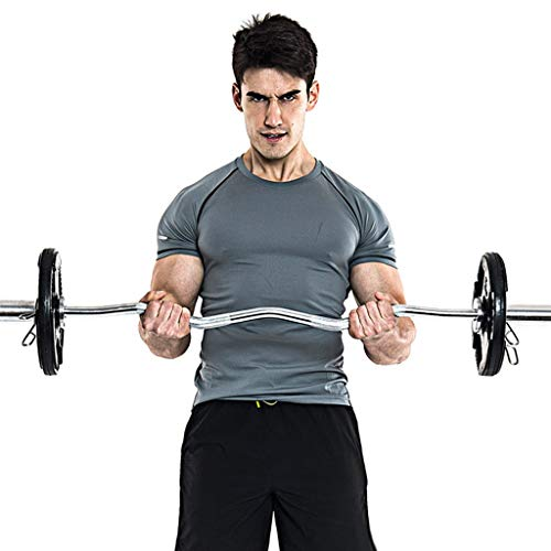 Fainosmny 47in Barbell Weight Bar Standard Z Curl Bar Home Gym Fitness Exercise Lift Gray