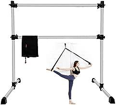 EOSAGA 4 FT Ballet Barre Height Adjustable, Portable Light Weight Stretch Ballet Bar Non-Slip Freestanding Dance Bar w/Carry Bag, and Leg Stretching (Sliver)