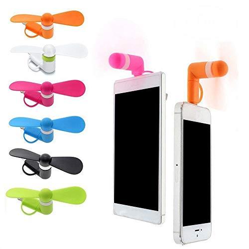 SIMUER 2 en 1 portátil Ventilador de refrigeración Mini USB Ventilador para Android y iPhone (6 Piezas)