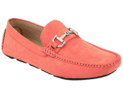 Amali Walken Men's Loafers Slip On Shoes – Casual Slippers for Men - Designer Driving Moccasins with Metal Bit and Detailed Stitching (Coral/8)