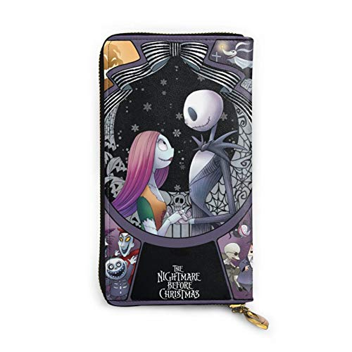Nightmare Before Christmas Purse Gifts Womens Small Wallet Ladies Wristlet Clutch RFID Blocking Genuine Leather Zip Purse