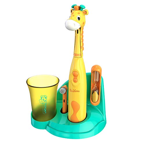 Brusheez® Kids Electric Toothbrush Set (Safari Edition) - Battery Operated, Soft Bristles, Easy On/Off, 2 Brush Heads, Animal Cover, Sand Timer, Rinse Cup, and Base - Ages 3+ (Jovie The Giraffe)