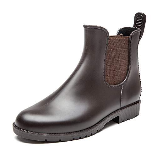 DKSUKO Rain Boots for Women Waterproof Elastic Slip On Ankle Chelsea Booties (8.5 B(M) US, Brown)