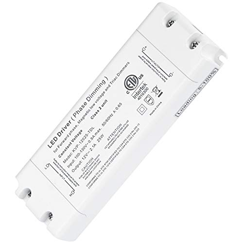 25W Dimmable Driver LED Power Supply - ETL 12V DC Dimming LED Drivers Transformer Compatible with Lutron, Leviton