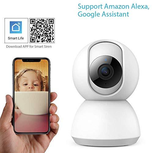Cámara IP WiFi, cámara de seguridad inalámbrica 1080P para bebés/ancianos/mascotas monitor de cámara con detección de movimiento de audio bidireccional visión nocturna, compatible con Alexa