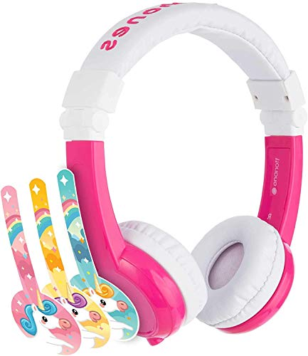 ONANOFF BuddyPhones Explore Foldable, Volume-Limiting Kids Foldable Headphones with Travel Bag, Built-in Audio Sharing Cable with Mic, Compatible with Fire, iPad, iPhone, and Android Devices, Unicorn