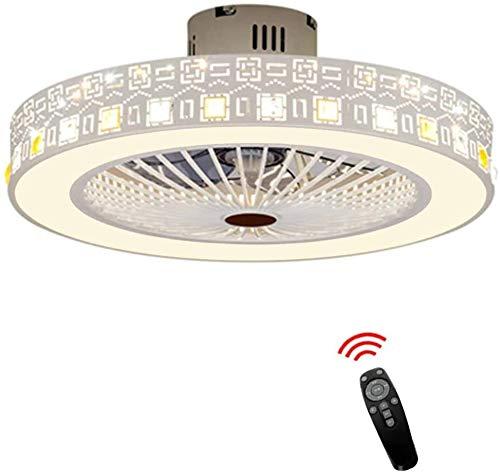 THY Moderne Deckenventilatoren Stiller Deckenventilator mit Fernbedienung der Fernbedienung LED modernes Deckensegel einfachen runden Raum,White