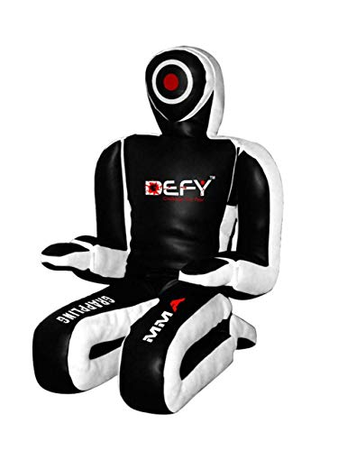 DEFY Brazilian Jiu Jitsu Grappling Kneeling Dummy Artificial Leather MMA GD2 (Black/White, 5 FT)