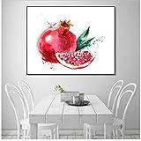 Pintura abstracta de frutas Decoración de la cocina Arte de la pared Lona Granada Carteles e impresiones Decoración moderna para el hogar Decoración del comedor 80x100 cm / 31.5'x 39.4' x1 Sin marco