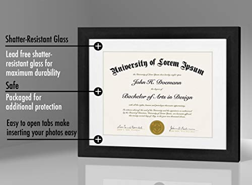 Americanflat 11x14 Black Diploma Frame | Displays 8.5x11 Diplomas with Mat or 11x14 Inch Without Mat. Shatter-Resistant Glass. Hanging Hardware Included!