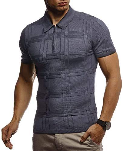 Leif Nelson Herren Sommer T-Shirt Poloshirt Slim Fit aus Feinstrick Cooles Basic Männer Polo-Shirt Crew Neck Jungen Kurzarmshirt Polo Shirt Sweater Kurzarm LN7325 Anthrazit Medium
